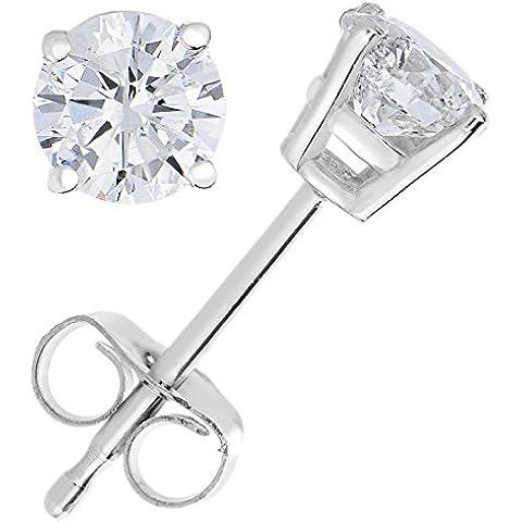 Vir Jewels, Orecchini Da Donna 14K (585) Oro Bianco Con Diamante 0.4 CT