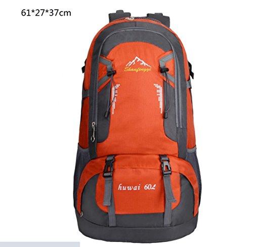 LQABW Outdoor Sport Mountaineering Freizeit Reisen Schulter Wandern Männliche Und Weibliche Wasserdichte Rucksack-Tasche Orange