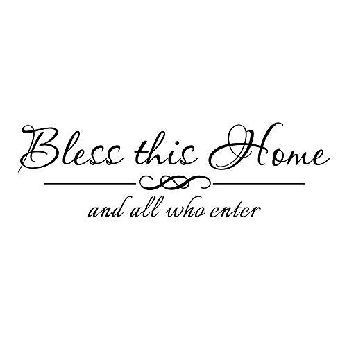 ZSSZ Bless This Home and All Who Enter-Vinyl Aufkleber Wand Zitat Home Diele Schriftzug Aufkleber Segen Christian Room Decor Handschrift Art Buchstaben - Schablone Wörter Wand