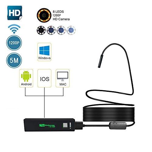 WIFI Endoskop, Umiwe Halbsteife Wasserdichte 1200HD Wifi Endoskope-Inspektions Kamera 2.0 Megapixel CMOS-Schlange-Kamera mit 8 justierbaren LED-Lichtern für Android, IOS, Windows and PC System (Schwarz-5m) (Schwarz Entlüftungsrohr)