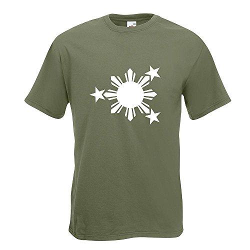 KIWISTAR - Flagge der Philippinen T-Shirt in 15 verschiedenen Farben - Herren Funshirt bedruckt Design Sprüche Spruch Motive Oberteil Baumwolle Print Größe S M L XL XXL Olive