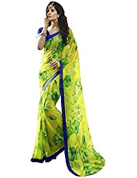 Clothsfab Women's Georgette Saree With Blouse Piece (Zanu Green New_Yellow)