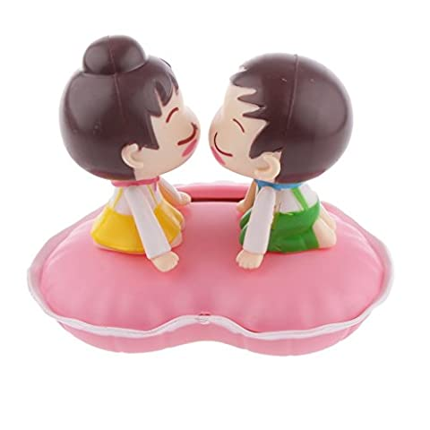 beccy.steve Cute Solar Powered Kissing Baby Bobble Head Dancing Toys Car Decor Pink