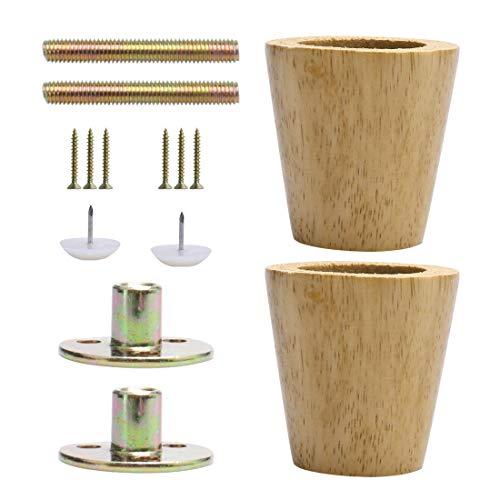 Sourcingmap - Patas redondas de madera maciza para muebles, sofás, bancos, sillas,...