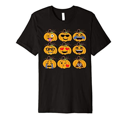 Emoji Pumpkins Faces T-Shirt Funny Halloween Costume Tee
