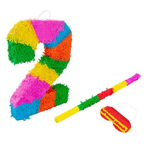 Fax Potato Nummer 2 Pinata Set mit Stick & Blindfold - 50 x 7,5 x 35 cm - Rainbow