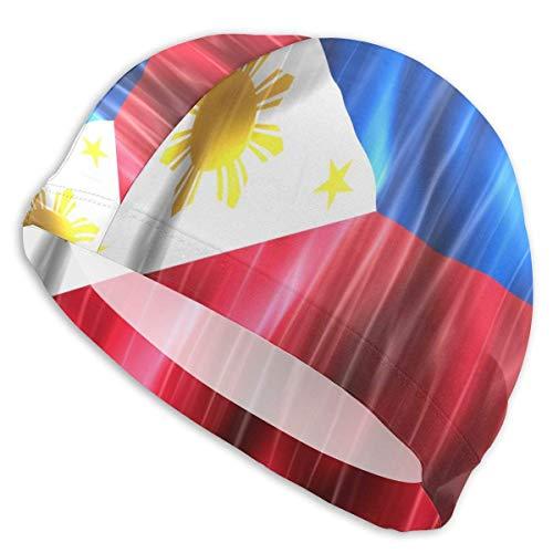 SFHJK Swim Caps Badekappe Colorful Wave Philippines Flag Adults Swim Cap Waterproof Fun Swimming Sports Hat