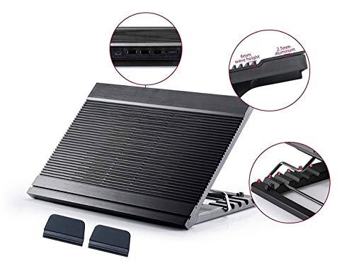 "ROLLCHC Laptop Cooler Cooling Pad, Matte für 12""- 17"" Zoll, ultraflaches tragbares, randloses Metallgitter mit USB-Stromversorgung, geräuscharme Lüfter"