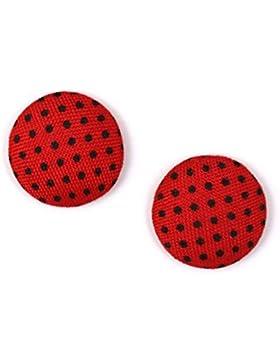 Idin Ohrclips - Rote, stoffbespannte Knöpfe Ohrclips mit schwarzen Punkten (ca. 15 mm across)