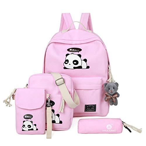 Bduco 4-teiliges Rucksack-Set mit süßem Panda-Print, Leinen, Rucksack, Reisetasche, Studenten, Teenager, Mädchen, Büchertasche für Lunch, Tragetasche und Bleistiftbox Rose