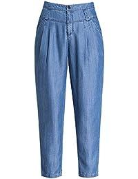 4f4247cbe Pantalones Vaqueros Tencel Pantalones Harem Sueltos Nuevos Pantalones  Delgados Nueve Pantalones Cintura Alta Versión Coreana De