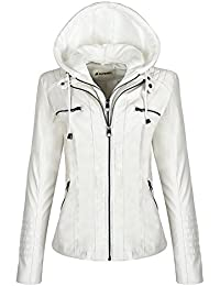 d8c748b8064c Blivener Womens Classic Faux Leather Hooded Jackets Zip Up Outwear Coat