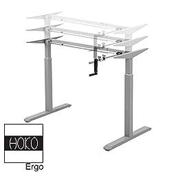HOKO Ergo-Work-Table Höhenverstellbarer Schreibtisch Basic Grau, manuell höhenverstellbar, für Tischplatten ab 2,5cm. Ergonomisches Arbeiten im Sitzen und im Stehen!