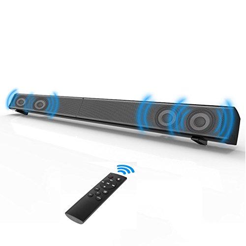 Soundbar, Beneray Heimkino Bluetooth 4.0 Lautsprecher, 2.0 Kanal, 40W mit 4 Lautsprecher, Glasfaser Verbindungsmöglichkeiten, mit Fernbedienung, Montierbar an Wänden