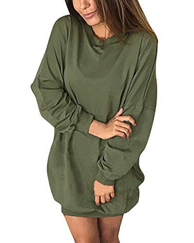 Minetom Femmes Sexy Col Rond Manches Longues Oversize Mini Robe Sweat Longue Casual Sweat-Shirt Pullover Dress Automne Hiver Tunique Jumper Armée Verte FR 42
