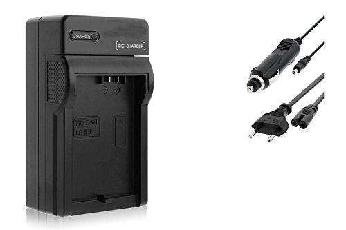 Ladegerät (KFZ, Netz) für Canon LP-E5 / EOS 450D, 500D, 1000D / Rebel T1i, XS, Xsi Eos Rebel Xsi Canon