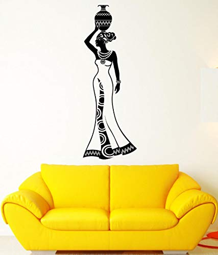 Große Mädchen Indien Wandtattoo Afrika Frau Tradition Vinyl Aufkleber Abnehmbare Vinyl Wandaufkleber Wohnkultur Wohnzimmer 56X160 Cm