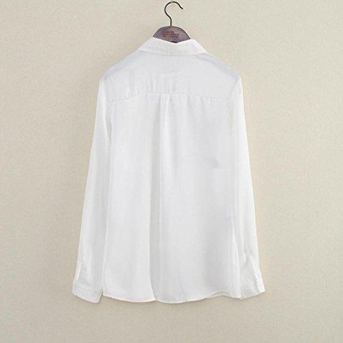 Chemise femme Mode Manches longues Rose Blouse Turn Down Collar en mousseline de soie grande taille Tshirt Tops à manches longues Blanc