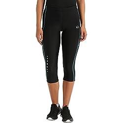 Ultrasport Pantalones pirata de correr para mujer con efecto de compresión y función de secado rápido, Negro/Turquesa, M