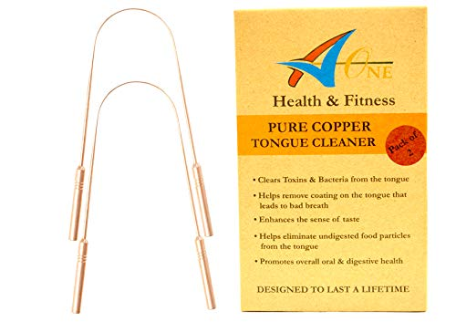 Pure Copper Tongue Cleaner X 2 | Premium Quality | Best Remedy for Bad Breath | Must Have Ayurveda Tongue Scraper for Oral Hygiene | Naturally Anti-Microbial | Individually Numbered with Travel Pouch