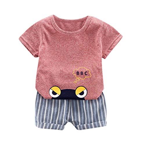 LEXUPE Säugling Baby Jungen Mädchen Kurzarm Cartoon Print Tops + Stripe Short Outfit(Rot,80)