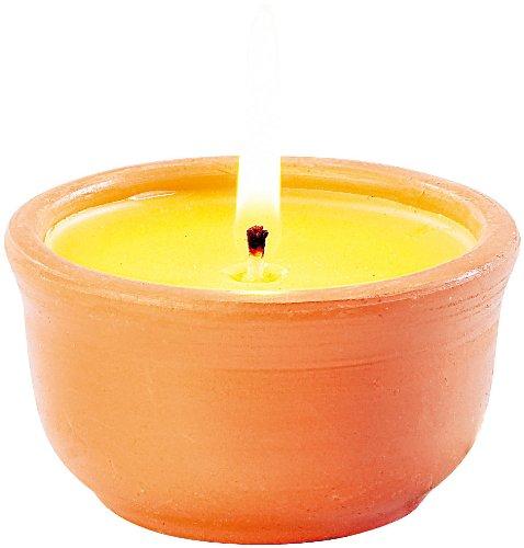 infactory Anti-Mücken-Kerzen in Terrakotta-Schalen, 3er-Pack