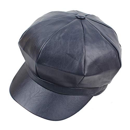 Wicemoon Sombreros Casuales Gorras De Invierno para Mujer Sombrero De Cuero PU Azul Marino Gorra Octogonal