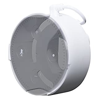 Concept Zero Halterung für Echo Dot (Direkt in der Steckdose, keine Schrauben, kein kleben, UK/Schweiz Version in weiß, weißes USB Kabel) - nur kompatibel mit dem komplett schwarzen Echo Dot Netzteil