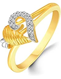 Classic Heart Diamond Studded Gold Plated Alloy Cz American Diamond Finger Ring For Women & Girl [CJFR1275G]