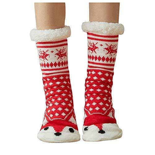 LILONGXI Warme Socken,Winter Indoor Rutschfester Boden Freizeitaktivitäten Comf Flip Flop Socken, Mädchen Red Fox Drucken Stricken Winter Verdicken Warme Socken (3pcs)