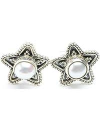 "stargems (TM) perla natural de Río diseño único 925plata de ley pendientes 1/2"""