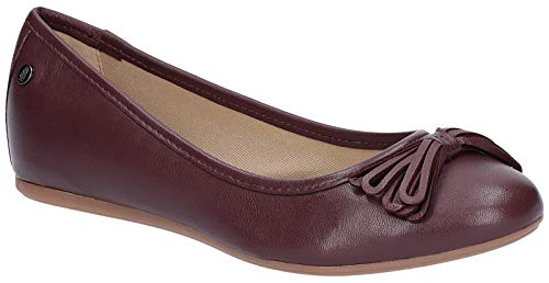 Hush Puppies Womens Heather Bow Flat Leather Ballet Shoes -