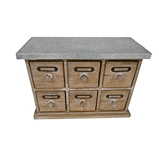 Antic Line 13672 Vintage Mini Chest of Drawers Cabinet Mercerie/Wood and Zinc/6 drawers Length 33 cm Depth 14 cm Height 23.5 cm
