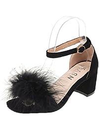 Huaishu Donna Sandali Nuove scarpe singole da donna Piume di pelliccia con  sandali con fibbia di 96fc00d7141