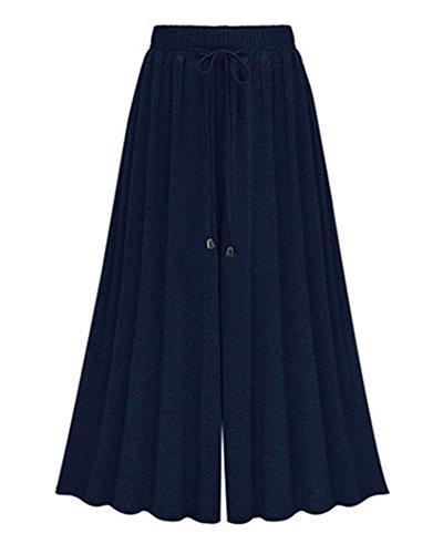 Damen Lose Weites Bein Hose Elastische Taille Hosenrock Capri Hose Freizeithose Große Größe Dunkelblau 9 6XL