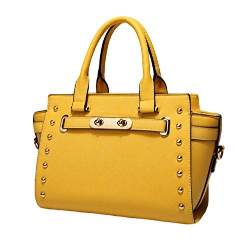 Damen Handtaschen Nieten Cross - Stil Single - Schulter Tasche Freizeit - Paket Leder Hardware Yellow