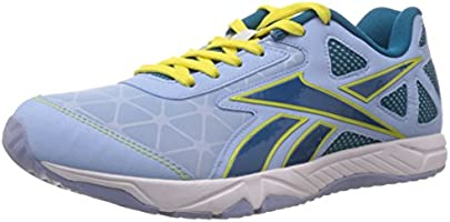 Reebok Women's Dash Out Lp Denim Glow,Evolved Blue,Solar Green and White Running Shoes - 4 UK