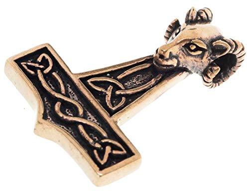 Bronze Anhänger Widder (Windalf Wikinger Schmuck Anhänger MJÖLNAR 4.7 cm Großer Thorshammer mit Widderkopf Vintage Edle Bronze)