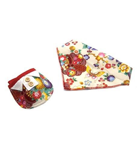 2Pcs Japanischer Stil Halstuch Bandana & Haustier Lätzchen für Kleine Hunde und Katzen (XS, red flower)