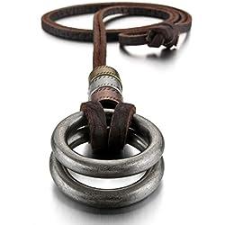 MunkiMix Aleación Genuina Cuero Colgante Collar El Tono De Plata Doble Anillo Ring Ajustable 16~26 Pulgada Cadena Hombre ,Cadena