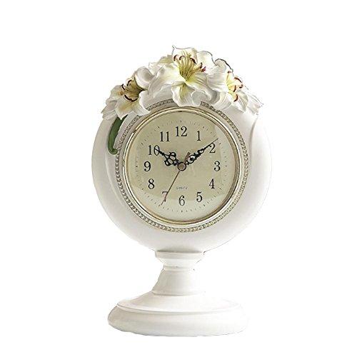Formel Lilie (Retro Dekoration Tischuhr, Kreativ Harz Lilie Tabelle Uhr,DXNSPF Zuhause Wohnzimmer Dekorativ Uhr, 11.8*7.4 Zoll)