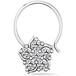 Silver Dew White 925 Sterling Silver Nose Ring/Nose Stud/Pin For Women/Girls