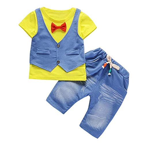 OSYARD Baby Junge Bekleidungssets, Kleinkind Kinder Baby Jungen Outfits Kurzarm T-Shirt + Lange Hose Gentleman Kleidung Set,Neugeborenen Kids Fake Zwei Stücke Sommer Tops Pulli und Pants Set