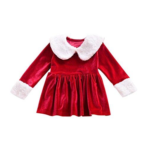 URSING Neugeborene Kind Baby Christmas Pelzkragen Kleid Outfits Prinzessin Mädchen Bekleidung Weihnachtskostüm Weihnachtskleid Langarm Festliches Kleid Lang Blusenkleid Weihnachtsgeschenk (6M) (Kleid Kontrast Anlass)