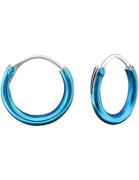 Ein Paar Blaue Extra Kleine (Winzig: 1 cm) Huggie Creolen aus Sterling Silber