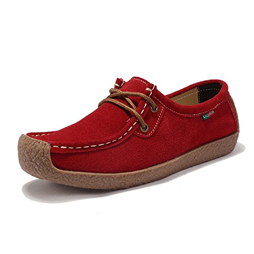 Z.SUO Damen Casual Mokassins Wildleder Bequem Flatschuhe Low-Top Schuhe Halbschuhe Freizeit (39 EU,Rot)