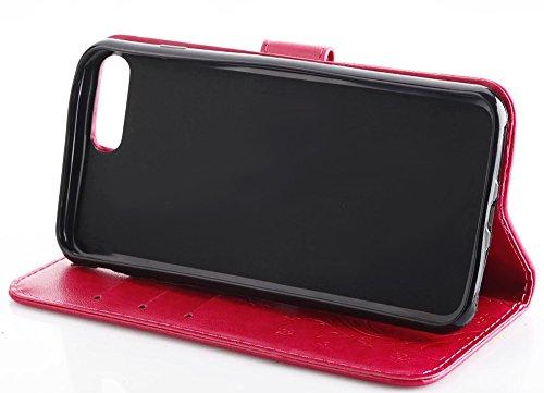 Nnopbeclik Folio Leder Hülle für Apple Iphone 7 Plus, PU Leather Flip Wallet Blume Case Handytasche Schutz mit Karte Halter-Magnetverschluß-Klappbar Stand, Drucken Schmetterling Blume Kristall Glitzer Rosa