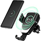 Wireless Car Charger, Car Mount Phone Holder Fast Charge compatible for Samsung Galaxy s6/s7/s8/s9/ s8/s9 plus and Standard Charge compatible for iPhone X/Xr/Xs/Xs Max/8/8 Plus & Qi Enabled Devices