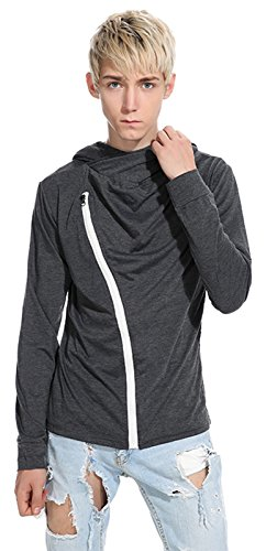 Whatlees Herren Urban Basic Design Langarm T-Shirt Kapuzenpullover mit Asymmetrische Ressverschluss und Kapuze B765-DarkGray (Industrie-kurzarm-baumwolle)