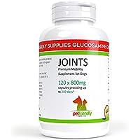 Glucosamina, suplemento articular para perros, ayuda con la artritis, glucosamina HCL, condroitina y MSM, vitamina C, ácido hialurónico, mejor alivio de la ayuda al dolor, 120 cápsulas